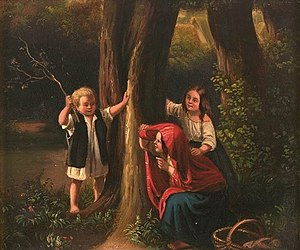"Meyerheim: Three children playing ""hide a..."