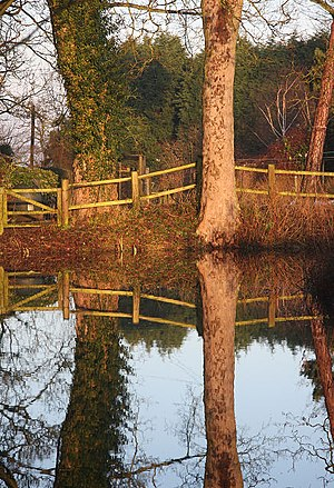 English: Moat reflections Early morning reflec...