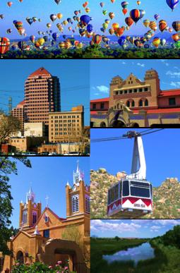 Balloon Fiesta,  Downtown Albuquerque  Alvarado Center, Sandia Peak Tramway San Felipe de Neri Church, Rio Grande Wetlands.