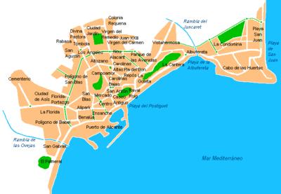Barrios y zonas de Alicante