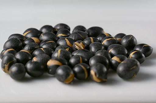 Black soy beans roasted for making tea