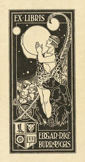 English: Bookplate of American writer Edgar Ri...