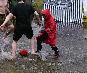"""English: After the rain: """"water football&..."""