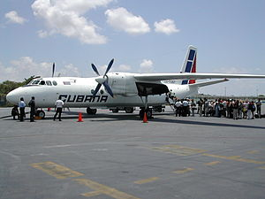 Cubana Antonov An-24 at Cancun Airport