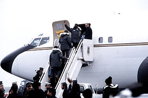 The 52 former hostages board the VC-137B Freed...