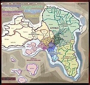 English: Map of Attica departments, Greece Ελλ...
