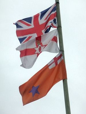 English: Flags that fly in Newbuildings village
