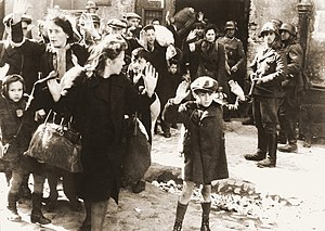 Jews being arrested in the Warsaw Ghetto. The ...