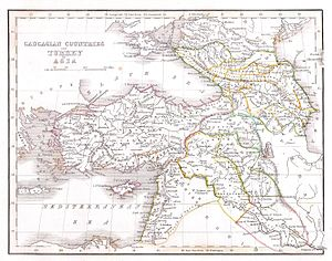 This unusual map depicts the Asian portions of...