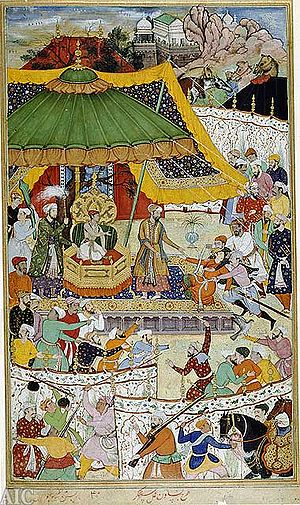 English: The court of Akbar, an illustration f...