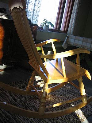 Typical Finnish wooden rocking chair.