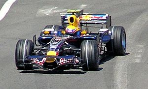 Mark Webber driving for Red Bull Racing at the...