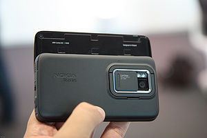 Nokia N900 back side, slide open.