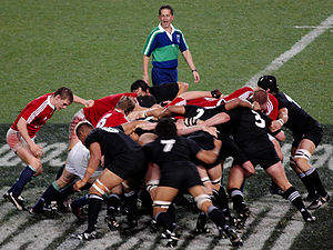 A rugby union scrum between the British and Ir...