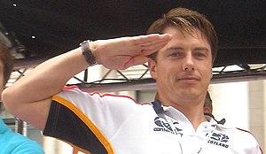 English: British actor John Barrowman saluting...