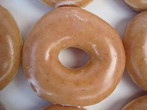 A Krispy Kreme glazed donut.