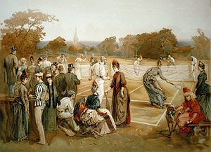 Lawn tennis, 1887. Print. Published in: Viewpo...
