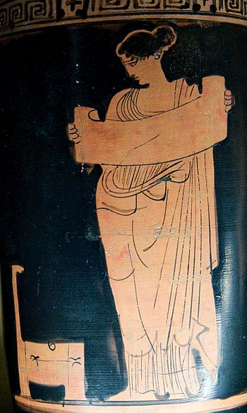 Musa reading a volumen (scroll), at the left a...