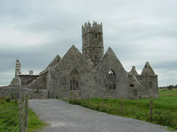 The ruins of the Ross Errilly Friary, as seen from the south.