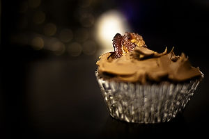 Chocolate bacon cupcake with chocolate butterm...