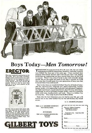 English: Advertisement for Erector Set toy 1922