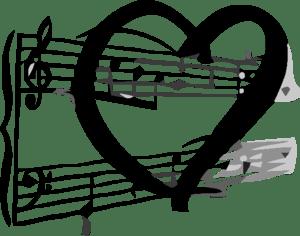 English: Musical notation & a heart