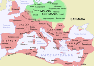 The Roman Empire in 116 AD and Germania Magna,...