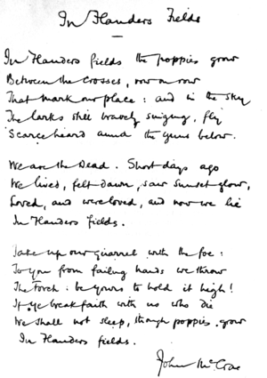 Facsimile of handwritten version of McCrae's