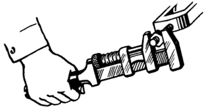 English: Line art drawing of a monkey wrench.