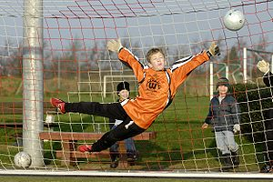Goal keeper in action. (Youth game in Germany)...