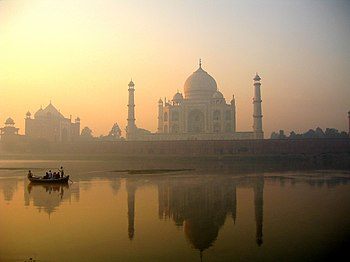 Taj Mahal reflection on Yamuna river, Agra.