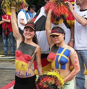 Bodypainted fans, Soccer World Cup, Germany 2006