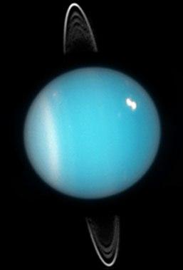 Uranus, satu-satunya planet di tata surya yang rotasinya menggelinding seperti bola terhadap matahari.