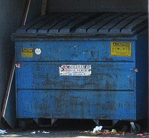 Dirty blue dumpster