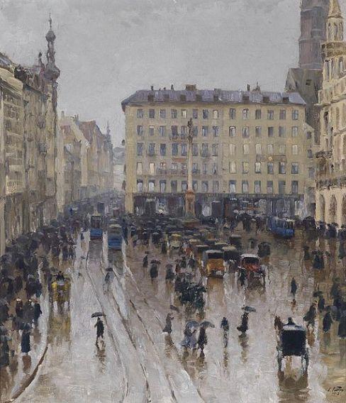 Charles Vetter Blick auf den Marienplatz in München 1912