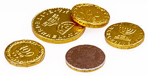 English: Chocolate, gold-foil covered coins. M...