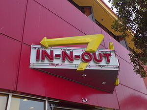 The In-N-Out Burger sign at Fisherman's Wharf ...