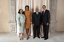 President Zuma and his second wife Nompumelelo Ntuli with Barack Obama and Michelle Obama in New York, 2009