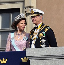 King Carl XVI Gustaf with Queen Silvia at the royal wedding of their daughter Victoria