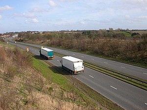 Lutterworth - Moorbarns Lane. Traffic on the n...