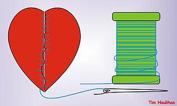 English: Broken heart sewn back together