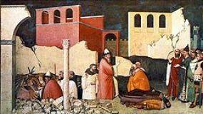 Le 33e pape Sylvestre Ier tuant un dragon et ressuscitant ses victimes