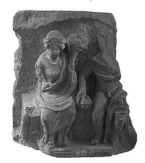 Relief from Autun depicting Rosmerta and Mercury