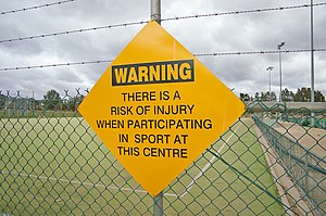 English: Sports injury warning sign. Funny tho...