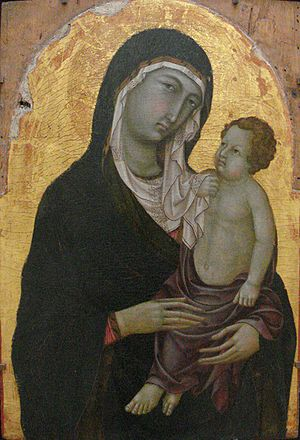 Madonna and Child, main panel of a polyptych. ...