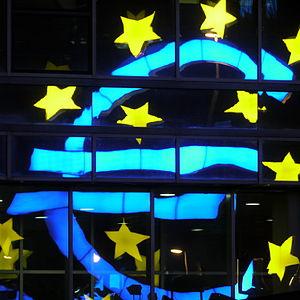 English: Night view of the euro monument (euro...