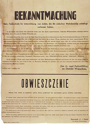 Nazi German poster in German and Polish (Warsa...