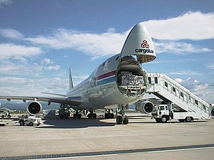 Cargolux Boeing 747-400F loaded or unloaded at...