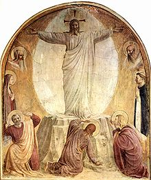 The Transfiguration shows the directness, simplicity and restrained palette typical of these frescoes.  Located in a monk's cell at the Convent San' Marco, its apparent purpose is to encourage private devotion.