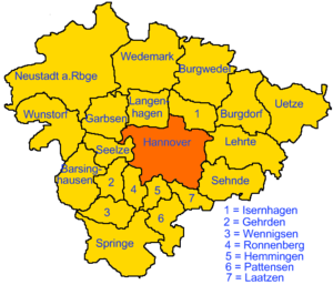 Location of Hannover in Region Hannover